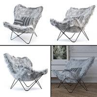 3D butterfly chair mongolian fur model