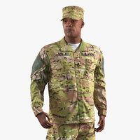 army soldier camofluage rigged 3D model