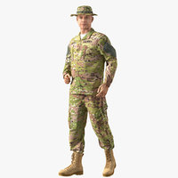 US Army Soldier Camouflage Uniform Fur Rigged 3D Model