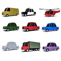 3D cartoon cars
