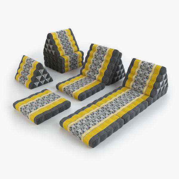 3D thai mattress set yellow