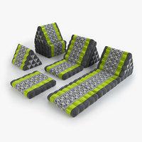 thai mattress set green 3D model