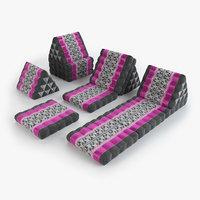 thai mattress set pink 3D model
