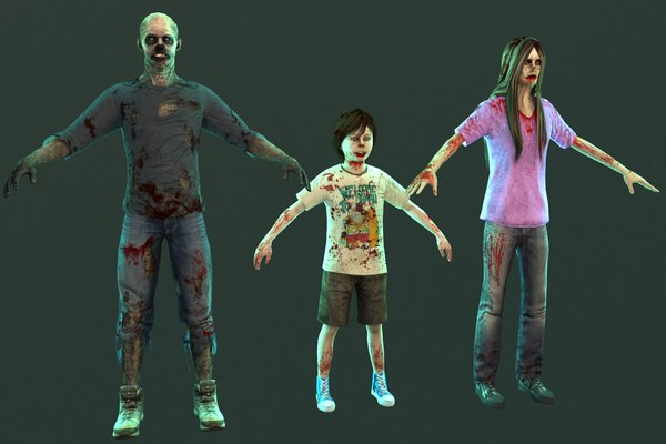 zombie male female 3D model
