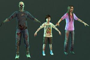 zombie male female 3D model
