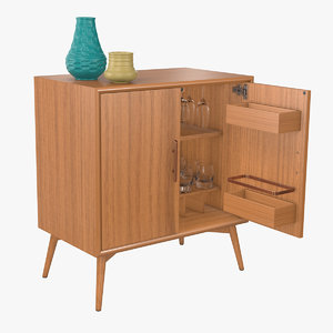 3D bar cabinet mid-century