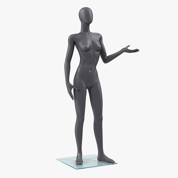 3D female dark grey mannequin