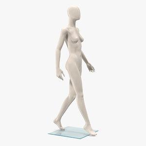 3D female mannequin walking pose model