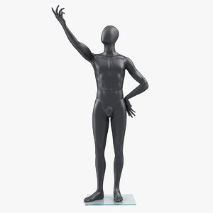 male dark grey mannequin 3D model