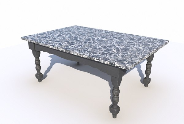 3D model dining table marble