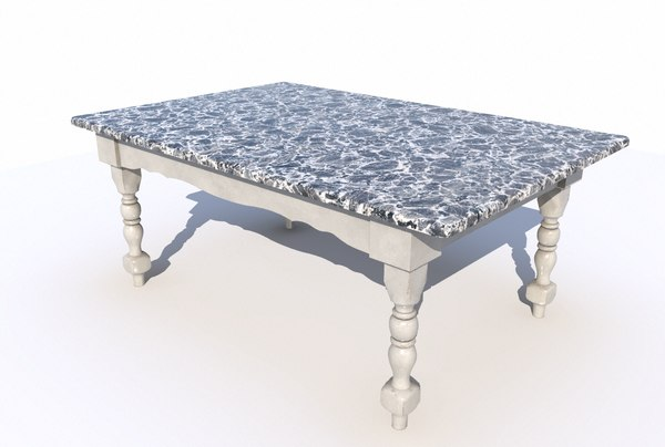 3D dining table marble 3 model