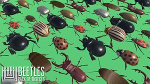 3D model vr beetles - pack