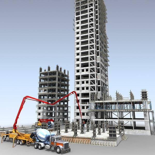 3D construction scene vehicles