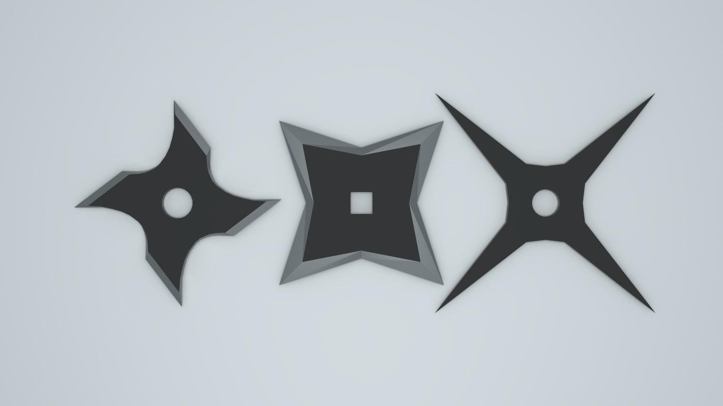 ninja throwing stars shurikens 3D model