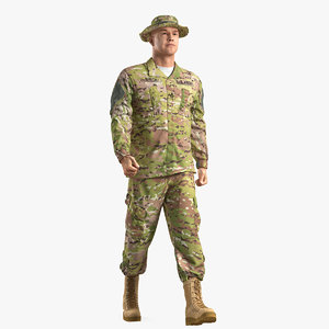 3D army walking soldier camouflage model