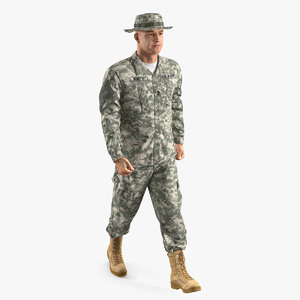 3D model army soldier combat uniform