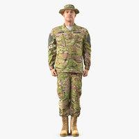 3D soldier acu camo standing model