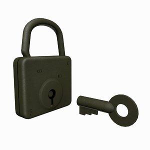 3D wwii german padlock locking