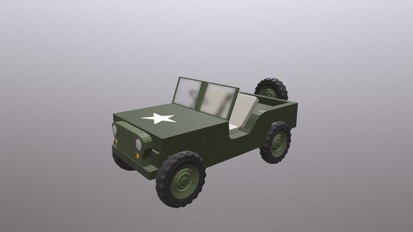 3D ww2 willys jeep model