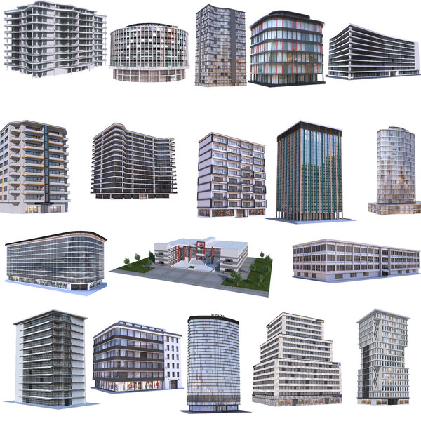 3D modern apartment building model