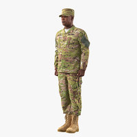 3D african-american soldier standing attention