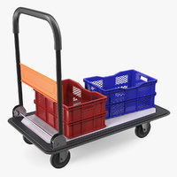 folding handle trolley crates 3D model