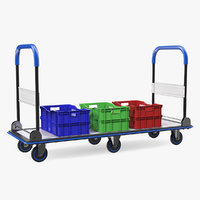 Market Service Cart with Crates 3D Model