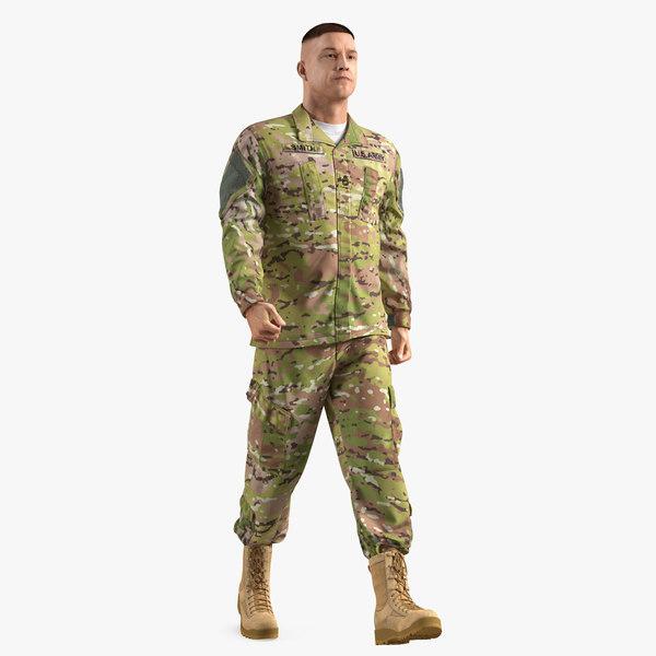 3D caucasian soldier camouflage uniform