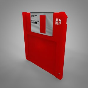 3D sony floppy disk red
