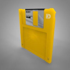 3D sony floppy disk yellow