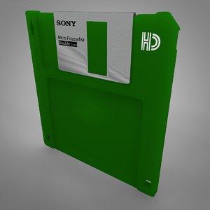 sony floppy disk green 3D