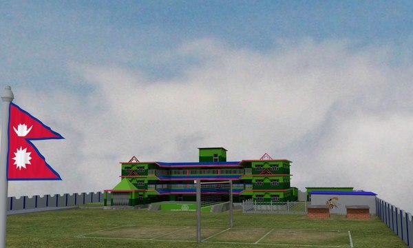 3D school area building