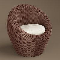 3D model basket wicker chair