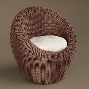3D model basket wicker chair