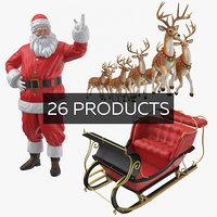 3D model santa reindeers
