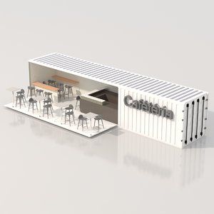 3D container beach cafeteria model