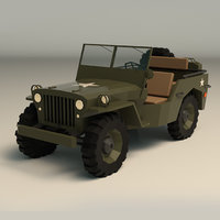 Low Poly Military Jeep 01