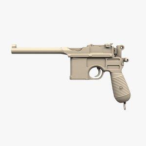 3D mauser c96 pistol