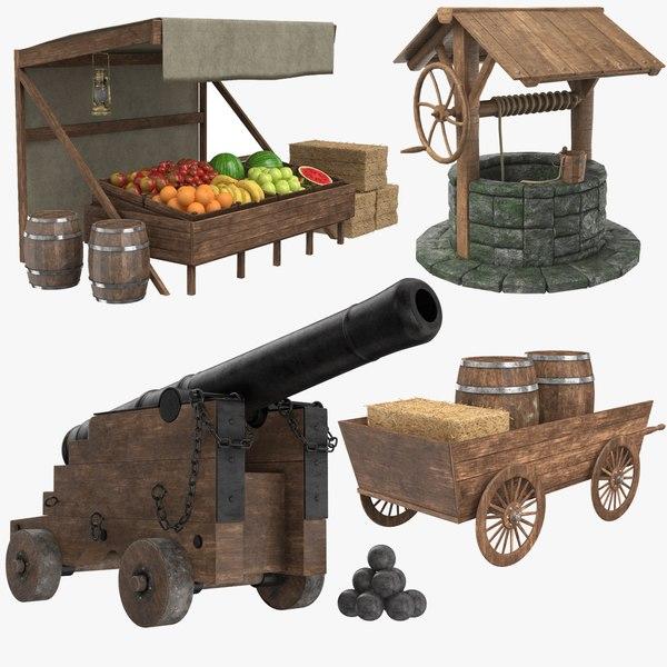 3D medieval modeled pbr model