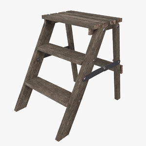 step ladder wooden 3D model