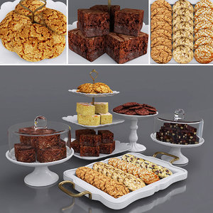 tray cookies cake brownies 3D model