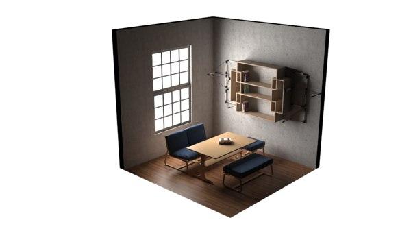 3D 4x4 room model