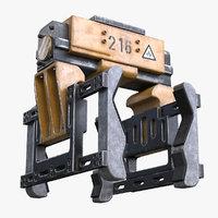 3D rigged robotic gripper model