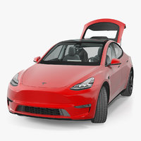 Tesla Model Y Red Rigged 3D Model