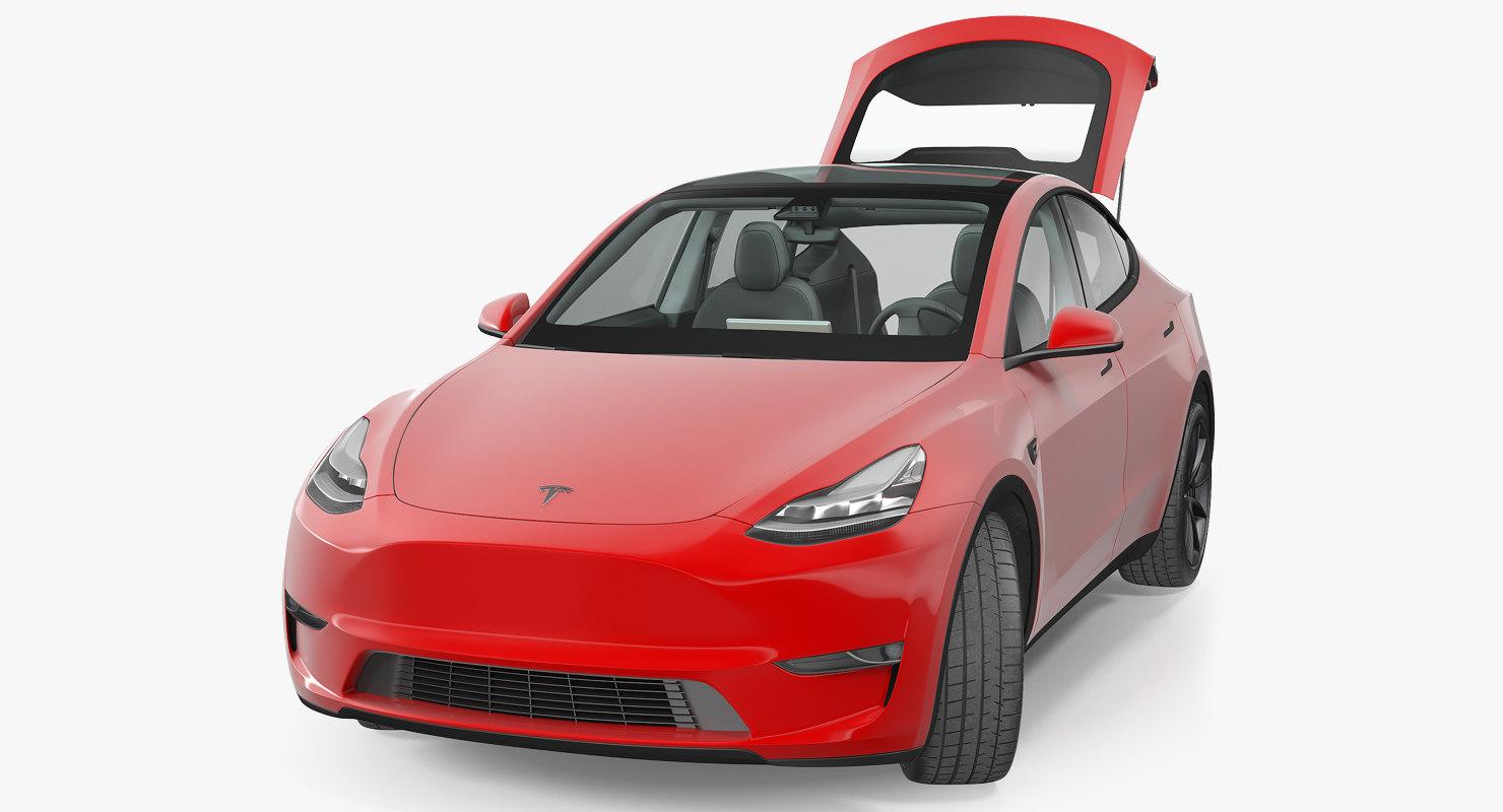 Tesla Model Y Red Rigged
