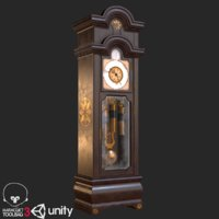3D old antique grandfather clock