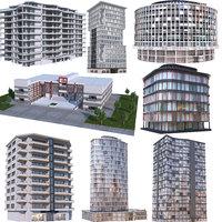 3D modern apartment buildings 2 model