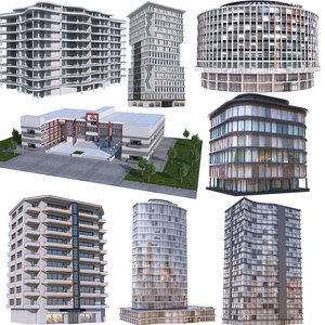 3D modern apartment buildings 2 model