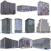 3D modern apartment buildings