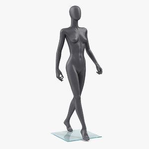 dark grey female mannequin 3D model